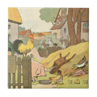Children's Story Book Farm Animals Small Square Tile