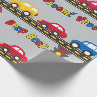Children's Toy Cars and Highway Wrapping Paper