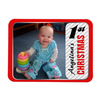 "Child's 1st Christmas 4""x3"" Photo Magnet"