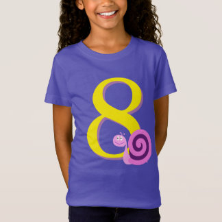 Child's 8th Birthday, Cute Happy Pink/Purple Snail T-Shirt