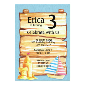 Child's Beach Sandcastle Birthday Party Invitation