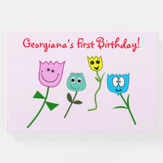 Child's Birthday Guest Book With Happy Flowers