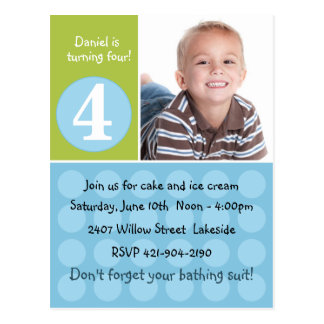 Childs Birthday Party Invitation Post Card