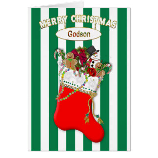 Child's Christmas Stocking - Godson - Candy Card