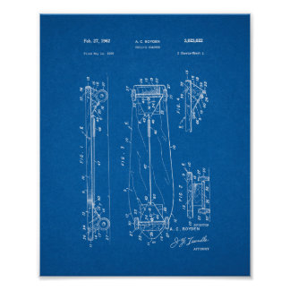 Child's Coaster - Skateboard Patent - Blueprint Poster