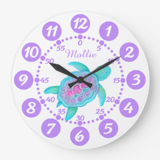 Child's cute turtle heart art purple white clock