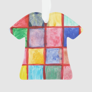Child's drawing squares pattern ornament