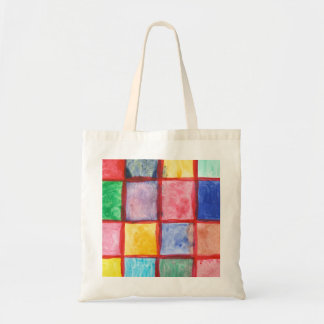 Child's drawing squares pattern tote bag