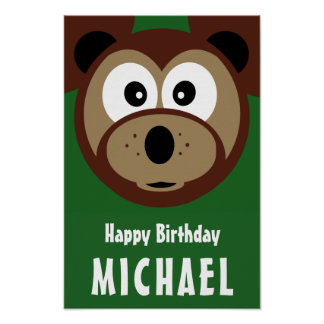 Child's Happy Birthday Cute Bear Poster