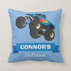 Childs Monster Truck Blue Personalised Name Cushion
