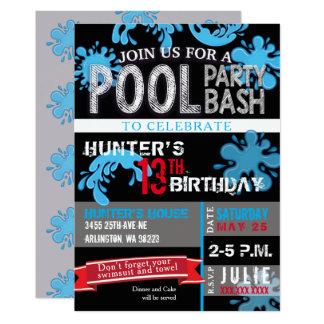 Childs Pool Party Bash Birthday Invitation
