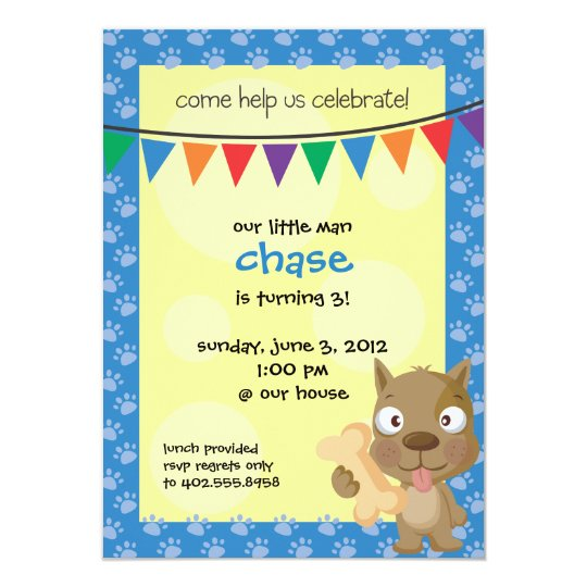 Childs Puppy Birthday Party Invite