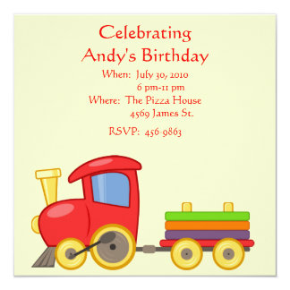 Child's Train Birthday Invitation