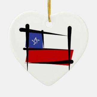 Chile Brush Flag Ceramic Heart Decoration