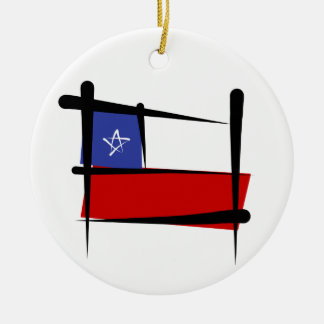 Chile Brush Flag Ceramic Ornament