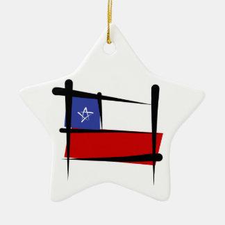 Chile Brush Flag Ceramic Star Decoration