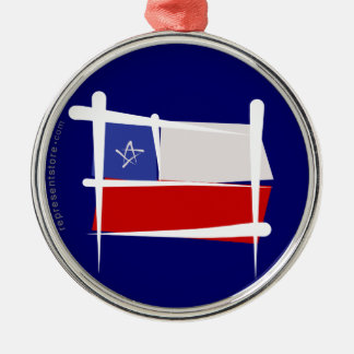 Chile Brush Flag Silver-Colored Round Decoration
