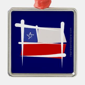 Chile Brush Flag Silver-Colored Square Decoration