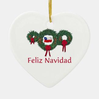Chile Christmas 2 Ceramic Heart Decoration