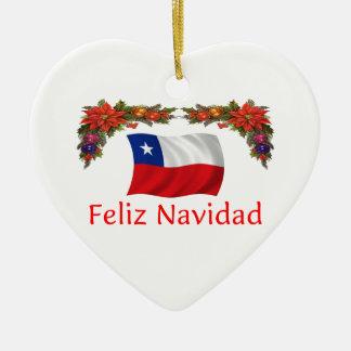 Chile Christmas Ceramic Heart Decoration