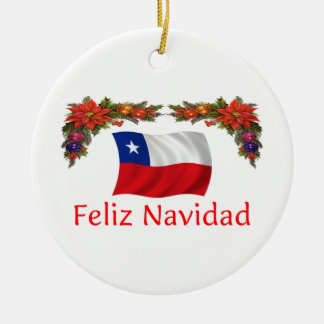 Chile Christmas Round Ceramic Decoration