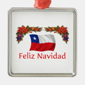 Chile Christmas Silver-Colored Square Decoration