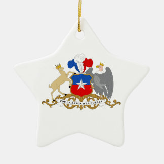 Chile Coat of Arms Double-Sided Star Ceramic Christmas Ornament