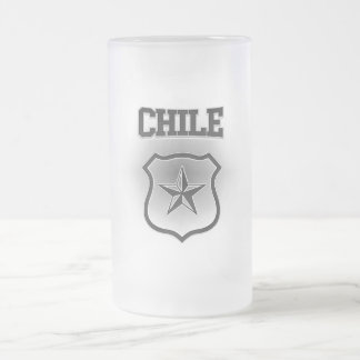 Chile  Coat of Arms Frosted Glass Beer Mug