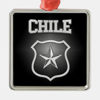 Chile Coat of Arms Silver-Colored Square Decoration