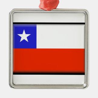 Chile Square Metal Christmas Ornament