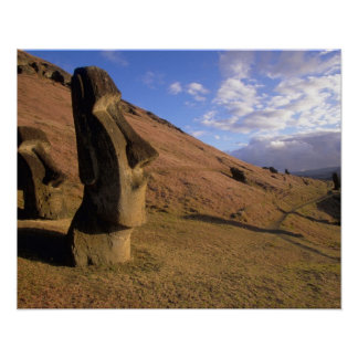 Chile, Easter Island. Hillside with Moai Poster