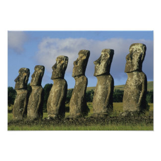 Chile, Easter Island, Rapa Nui, Ahu Akivi Posters