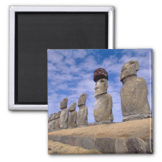 Chile, Easter Island. The 15 Moais at Ahu Square Magnet