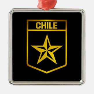 Chile Emblem Silver-Colored Square Decoration