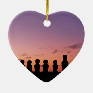 Chile Figures In The Sunset Ceramic Heart Decoration