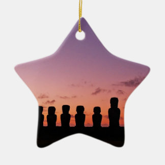 Chile Figures In The Sunset Ceramic Star Decoration