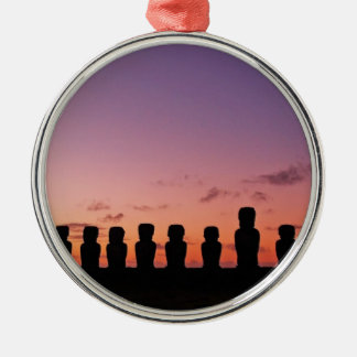 Chile Figures In The Sunset Silver-Colored Round Decoration