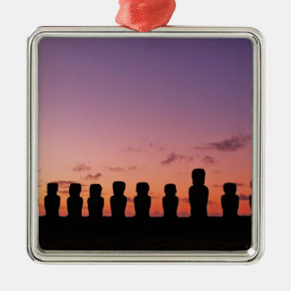 Chile Figures In The Sunset Silver-Colored Square Decoration