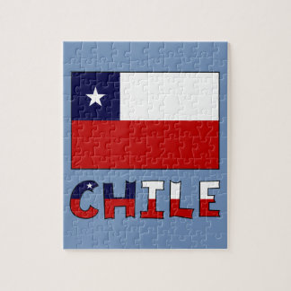 Chile Flag and Name in Colour Puzzles