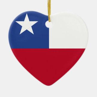 Chile flag ceramic heart decoration