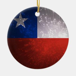 Chile Flag Firework Round Ceramic Decoration