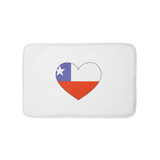Chile Flag Heart Bath Mats