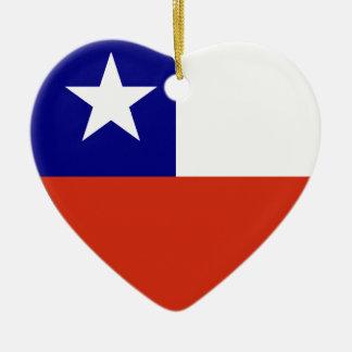 Chile Flag Heart Ceramic Heart Decoration