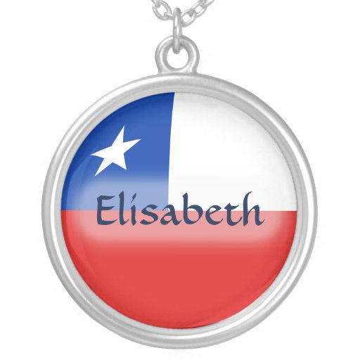 Chile Flag + Name Necklace