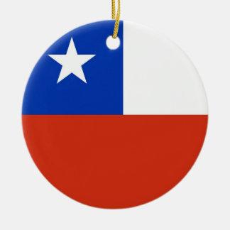 Chile Flag Plain Round Ceramic Decoration