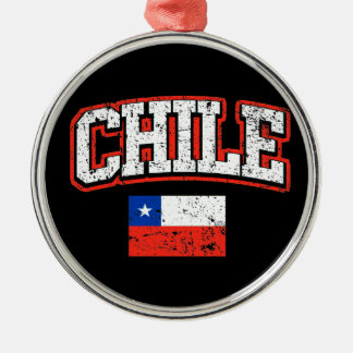 Chile Flag Silver-Colored Round Decoration