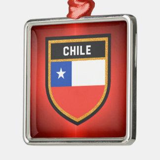 Chile Flag Silver-Colored Square Decoration