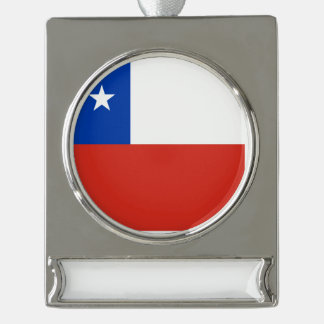 Chile Flag Silver Plated Banner Ornament