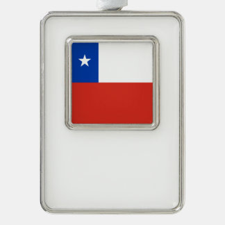 Chile Flag Silver Plated Framed Ornament