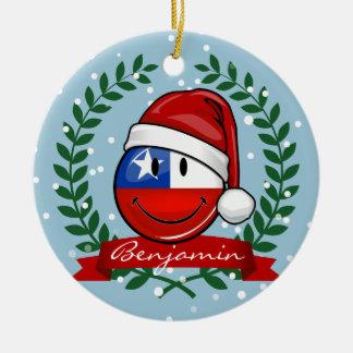 Chile Flag Smiley Christmas Style Round Ceramic Decoration